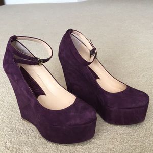 Purple suede wedges with ankle straps